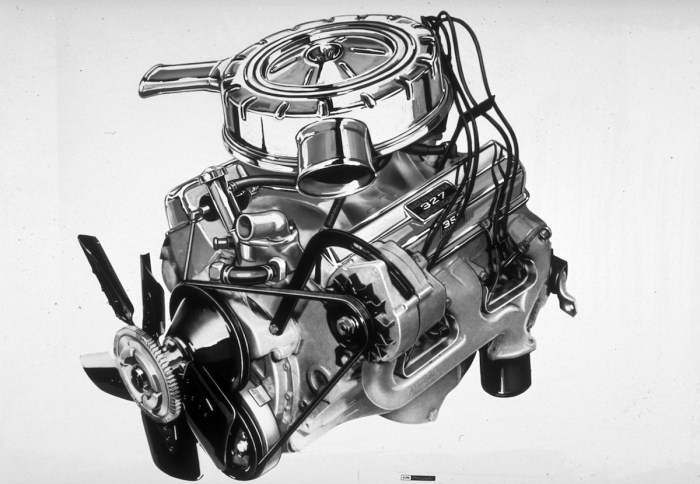 """Chevy's """"Giant Killer"""": the 350 horsepower RPO L79 327, which graced the options list of Corvette, Chevelle and Chevy II from 1965-67."""