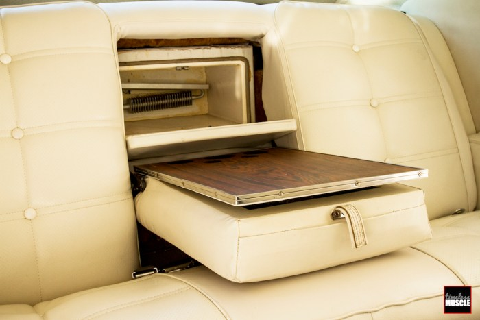 Cleverly hidden in the back seat was a wood-grain wet bar with bottle storage, and a 12V- or 120V-powered refrigerator. It would surely make long trips much nicer, and frankly, these options still aren't that available in today's cars