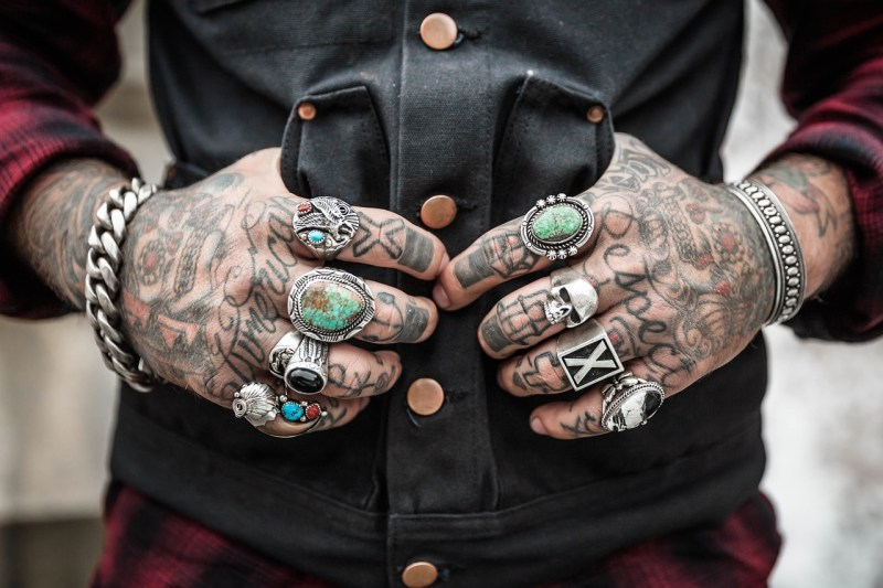 hands, tattoos, rings