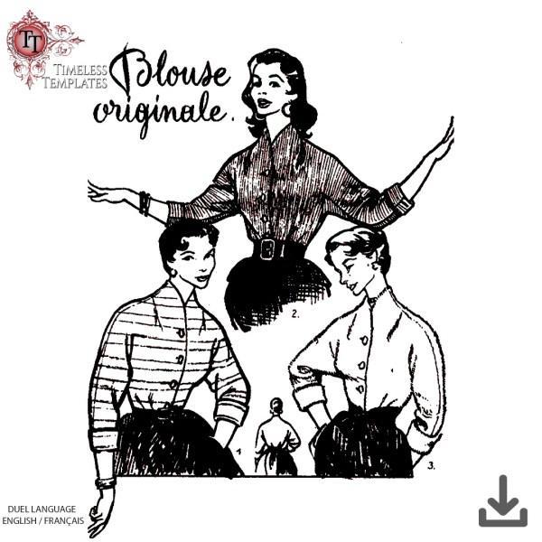 vintage 1950s kimono sleeve blouse sewing pattern