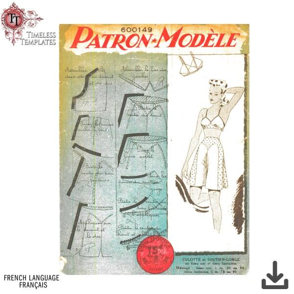 patron modèle 1940 vintage couture