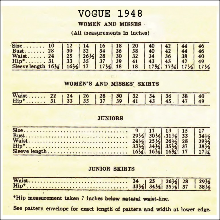 free vintage sewing help - size chart