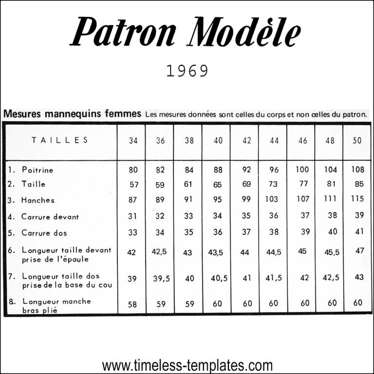 patron modèle size chart 1969