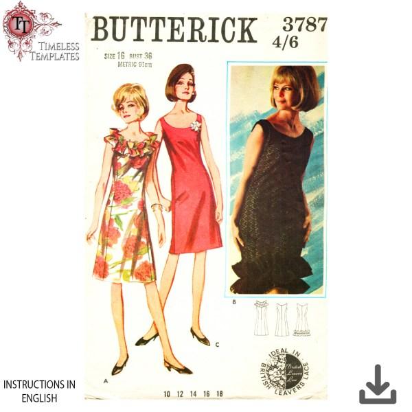 vintage butterick 3787 a line dress sewing pattern