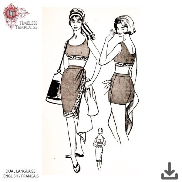 mrs maisel beachwear sewing pattern 1960s