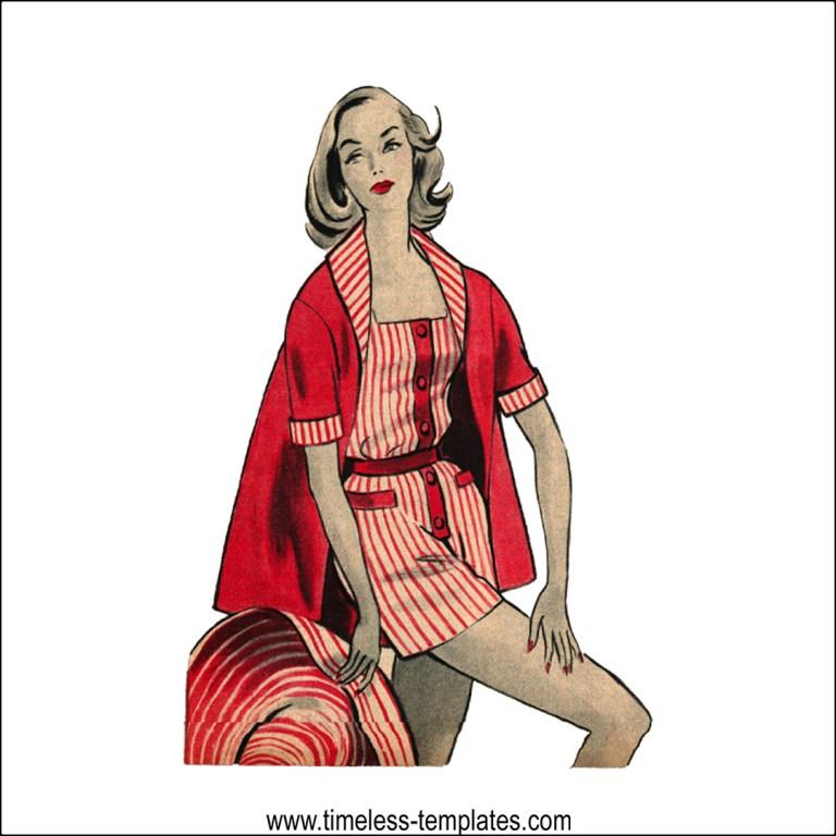 1950´s vintage beachwear sewing pattern