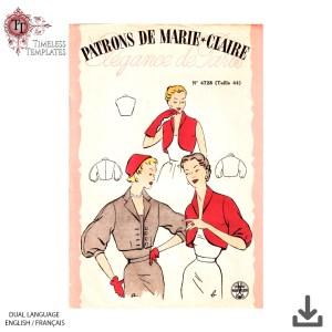 vintage patrons de paris 4728 vintage sewing pattern mrs maisel bolero