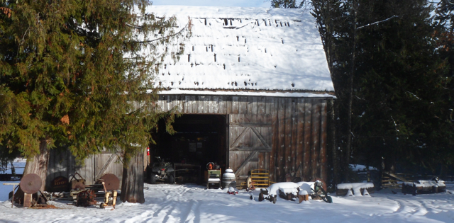 The museum which is the old Dondale timber frame barn from the turn of the century