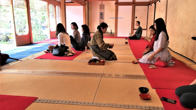 This is the Tea House within the grounds of Kinkaku-ji Pavilion in Kyoto. I opted for the traditional ceremony indoors.