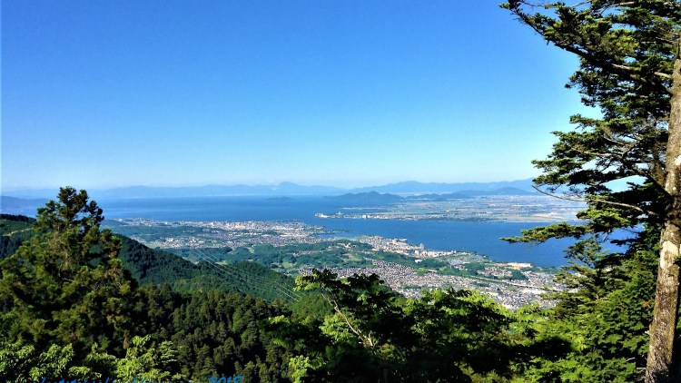 View of Lake Biwa from the cable car ride down to Sakamoto