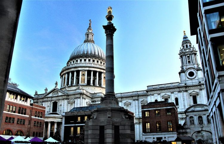 Uninterrupted view of the dome at St Paul's Cathedral, from Paternoster Square