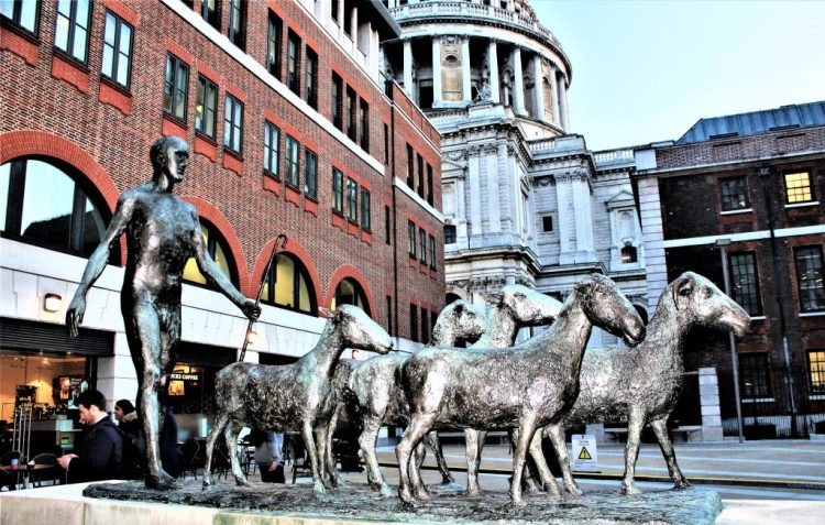 The Sheep and Shepherd, designed by Elisabeth Frink sits in Paternoster Square, London