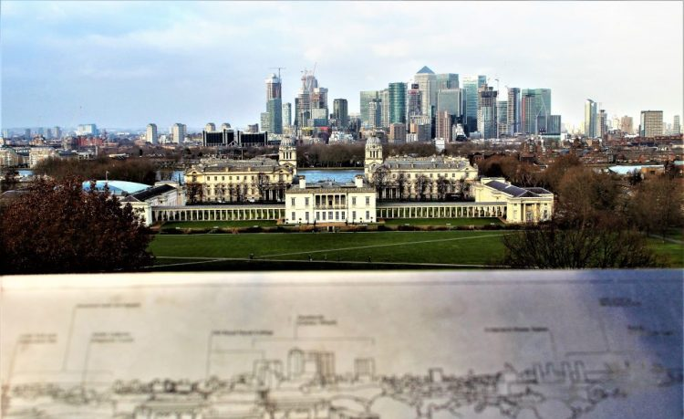 Stunning views of the Queen's House, River Thames and London's Skyline from the top of the hill at the Royal Observatory, Greenwich.