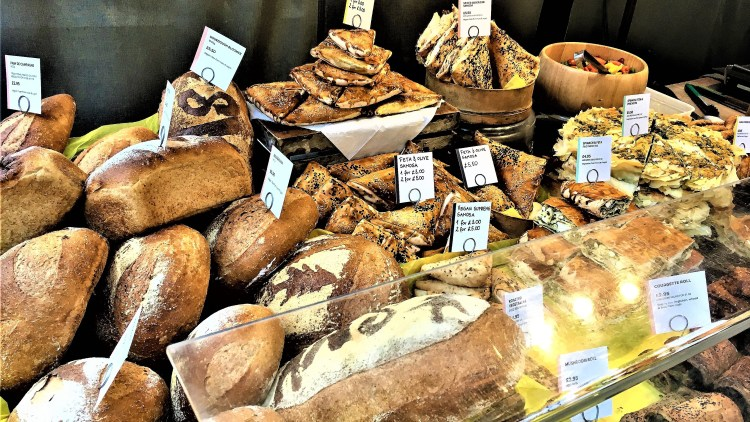 Freshly baked bloomers and pastries at Greenwich Market