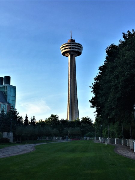 Catch the view of the Skylon Tower and its rotating restaurant at Niagara Falls.