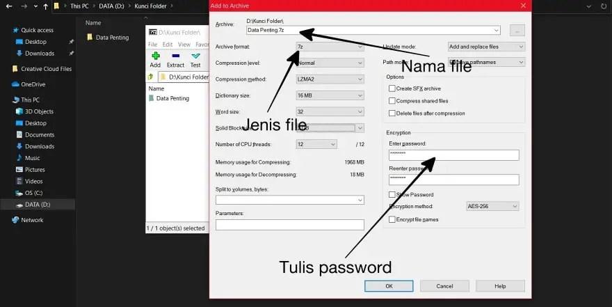Atur 7Zip untuk Mengunci Folder dengan Password
