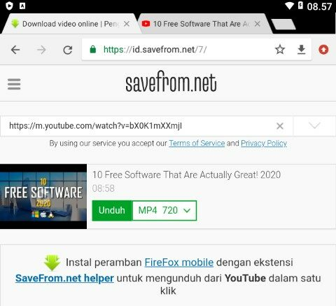 Paste URL Video YouTube ke SaveFrom