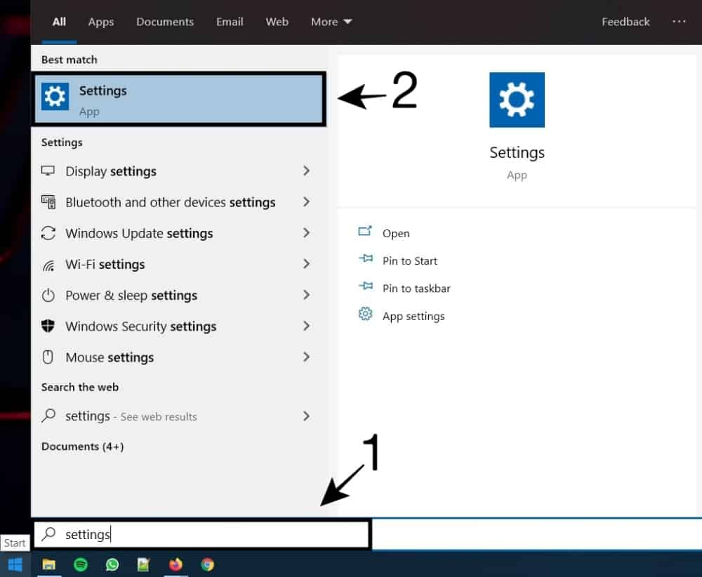 Buka Settings Windows 10