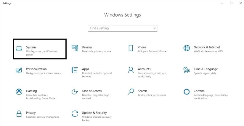 Buka Windows 10 Setting dan Pilih System