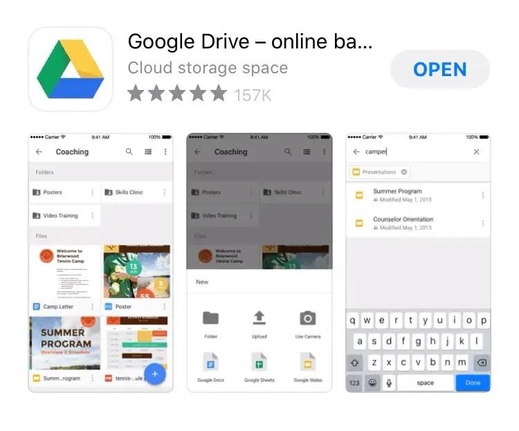 Install Google Drive di iPhone