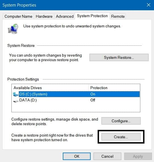 Pilih Create untuk Membuat System Restore Point Windows 10