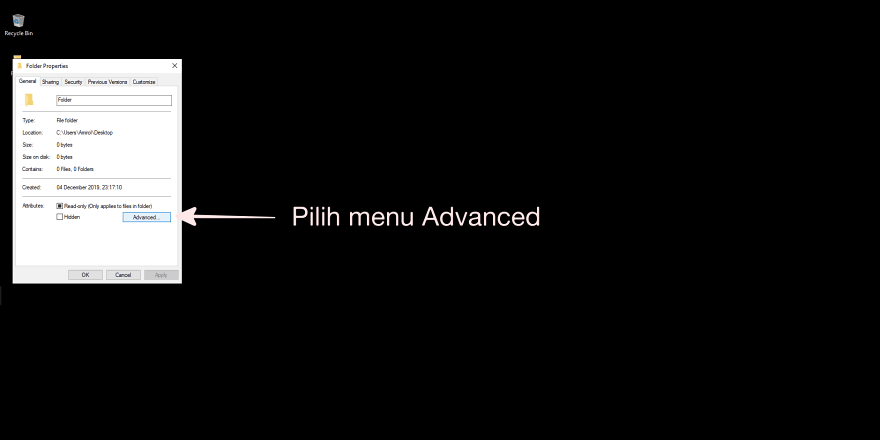 Pilih Menu Advanced
