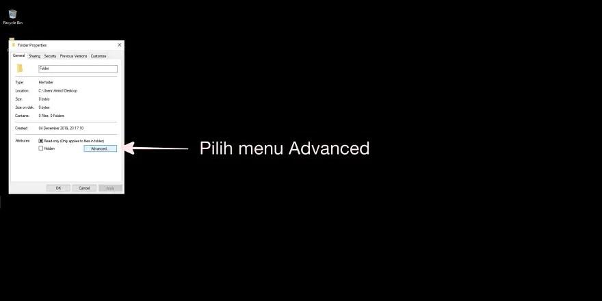 Pilih Menu Advanced