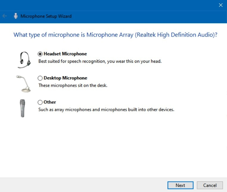 Setting Headset Microphone