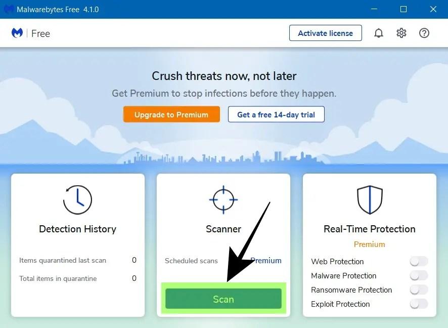 Buka Malwarebytes dan Pilih Scan - Cara Menghilangkan Iklan di Google Chrome