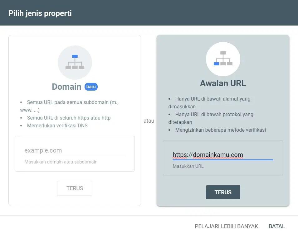 Pilih jenis properti situs kamu