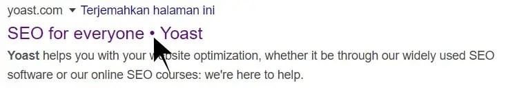Tampilan Title di Google untuk Website Yoast