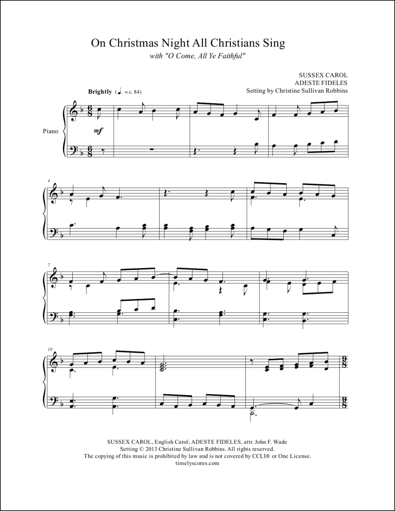On Christmas Night All Christians Sing with O Come All Ye Faithful Piano Sheet Music