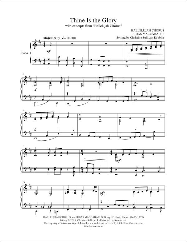 Thine Be the Glory with Hallelujah Chorus Piano Sheet Music