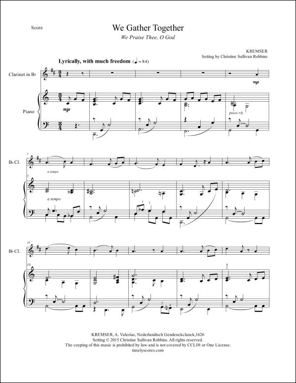 We Gather Together Clarinet Sheet Music