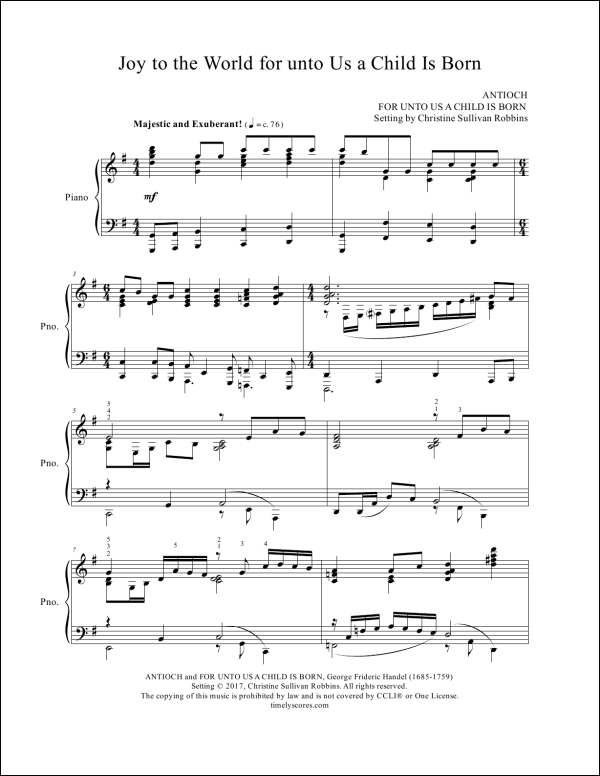 Joy to the World for unto Us a Child Is Born Piano Sheet Music