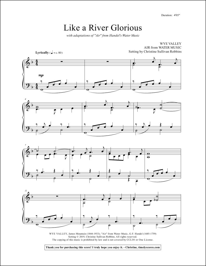 Like a River Glorious with Air from Water Music Piano Sheet Music