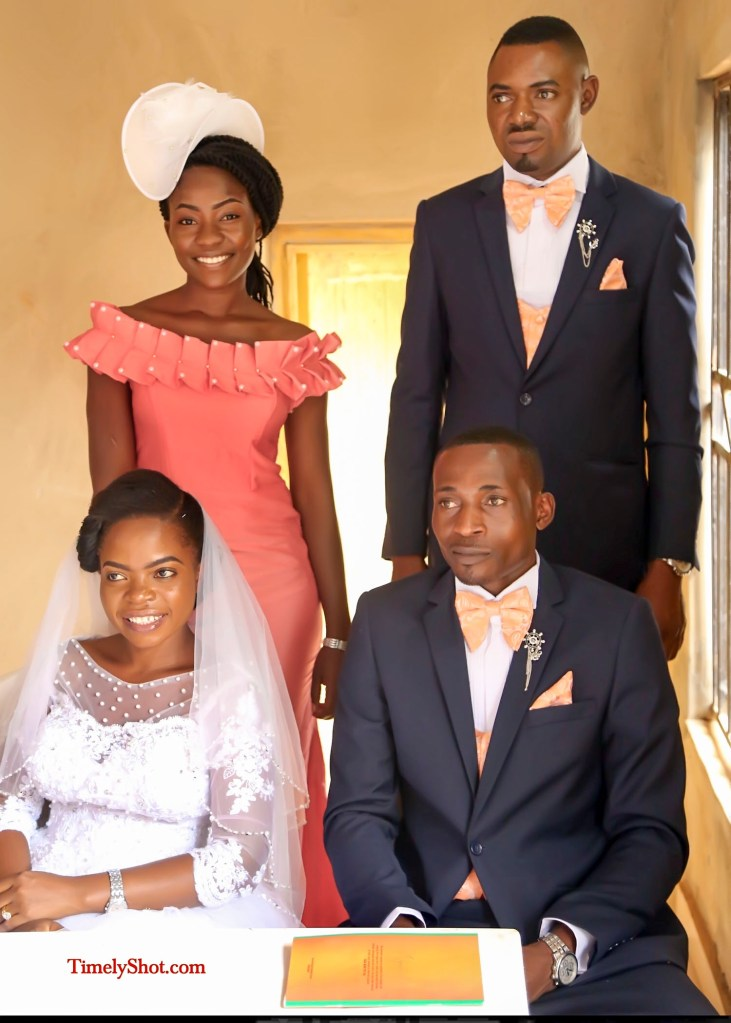 couple with bridesmaid and bestman