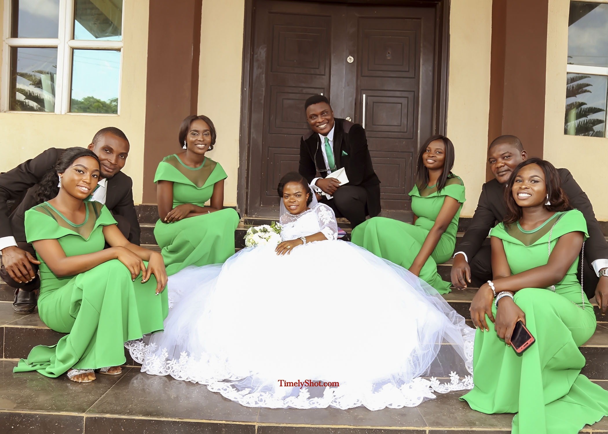 bride and grooms men and brides maid