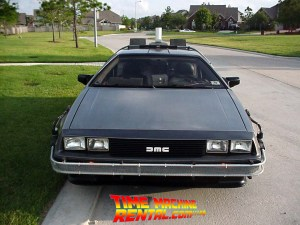 A bit of a higher angle for another Iconic front-end shot of the DeLorean Time Machine Rental.