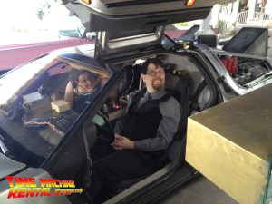 Back to the Future time travelers are ready for getting married in the time machine.