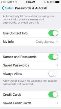 Autofill iOS 7