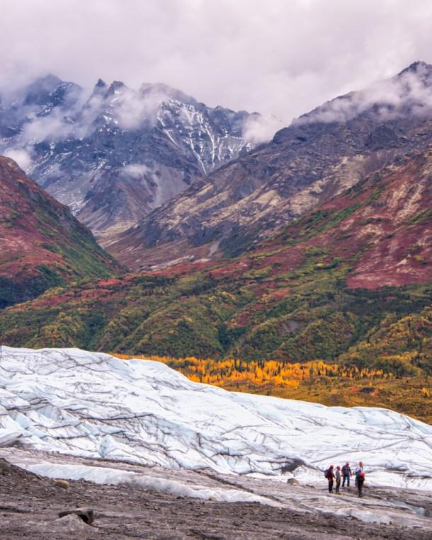 Alaska, autumn, foliage, Glenn Highway,glacier, Matenuska Glacier