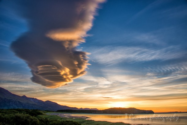 lenticular clouds, Katmai, Katmai National Park, Alaska, Hallo Bay