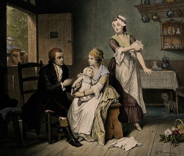 V0006848 Edward Jenner, vaccinating his young child, held by Mrs Jenn