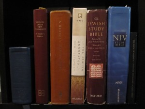 Quad, Greek NT Reader's Edition, Hebrew Bible Reader's Edition, Jewish Annotated New Testament, Jewish Study Bible, NIV Study Bible, Book of Mormon