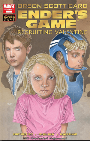 Peter, Ender, and Valentine Wiggin as depicted in the Marvel comics.