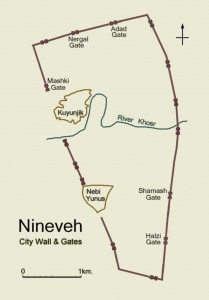 The actual plan of Nineveh, about 15 km2, 1/150th of the size mentioned in the tale
