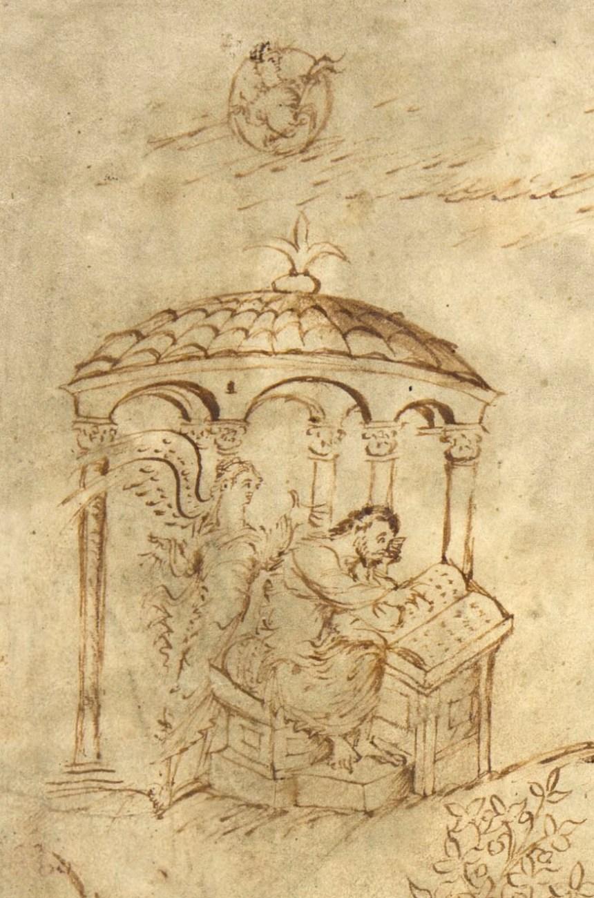 Utrecht Psalter, Universiteitsbibliotheek Utrecht, HSS: Hs 32 dl 1-2 Con, fol. 1v. Detail.