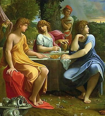 Three angels hosted by Abraham, Ludovico Carracci (1555–1619), Bologna, Pinacoteca Nazionale. (Wikimedia Commons)