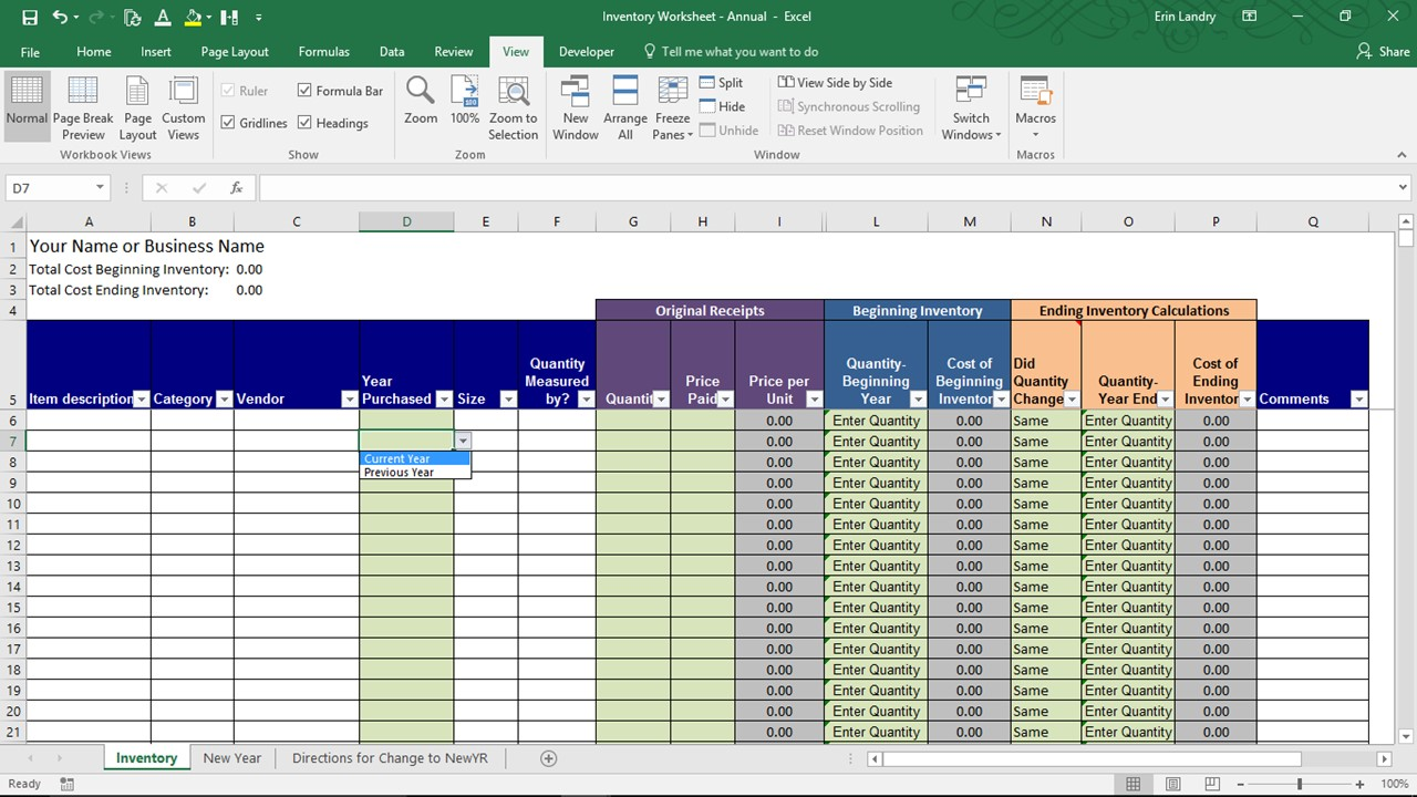 End Of Year Inventory Template Calculate Beginning And